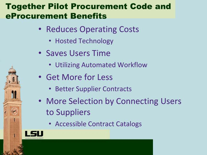 Together Pilot Procurement Code and eProcurement