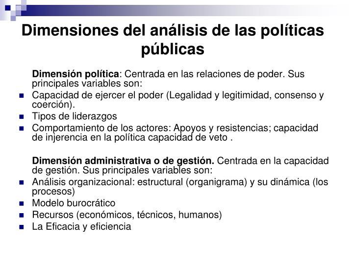 Dimensiones del análisis de las políticas públicas