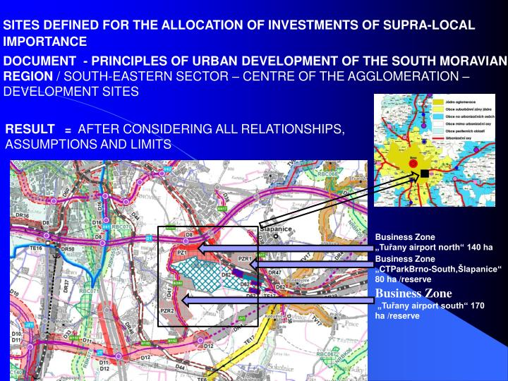 SITES DEFINED FOR THE ALLOCATION OF INVESTMENTS OF SUPRA-LOCAL IMPORTANCE