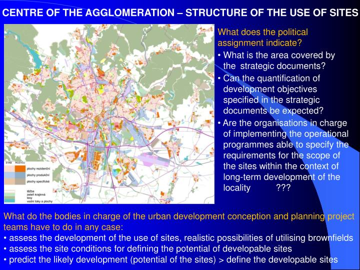 CENTRE OF THE AGGLOMERATION – STRUCTURE OF THE USE OF SITES