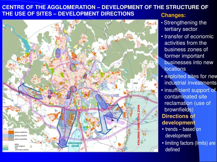 CENTRE OF THE AGGLOMERATION – DEVELOPMENT OF THE STRUCTURE OF THE USE OF SITES – DEVELOPMENT DIRECTIONS