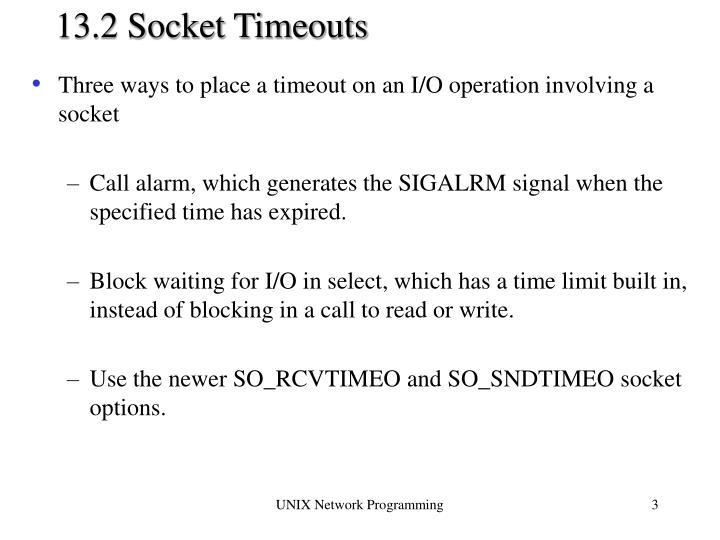 13.2 Socket Timeouts
