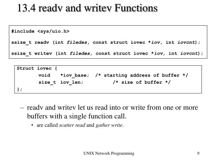 13.4 readv and writev Functions