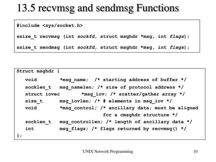 13.5 recvmsg and sendmsg Functions