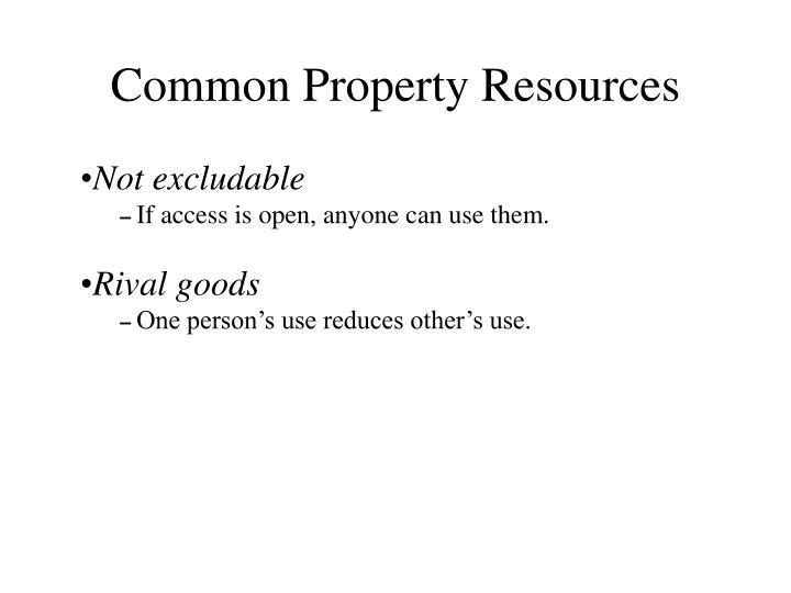 Common Property Resources
