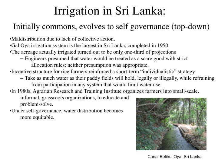 Irrigation in Sri Lanka: