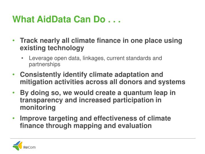 What AidData Can Do . . .