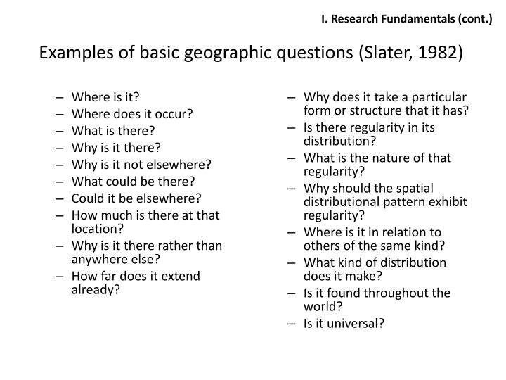 I. Research Fundamentals (cont.)