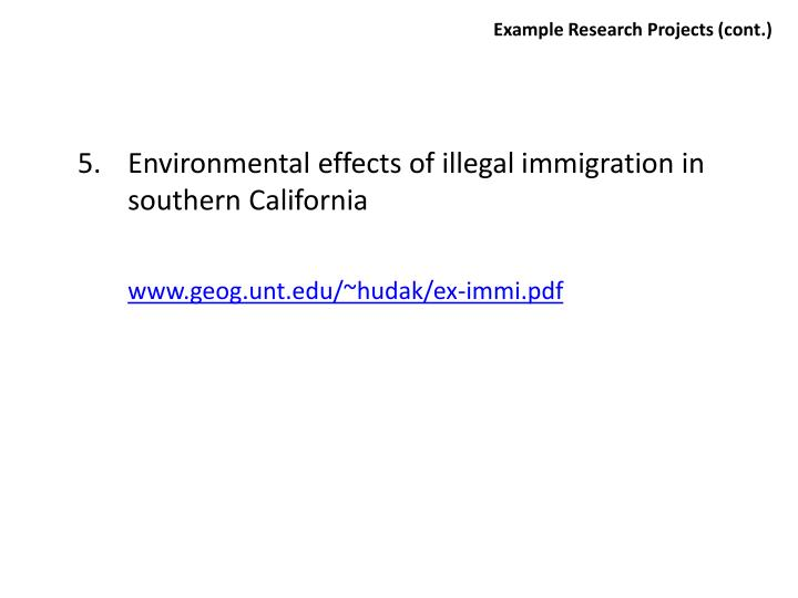 Example Research Projects (cont.)