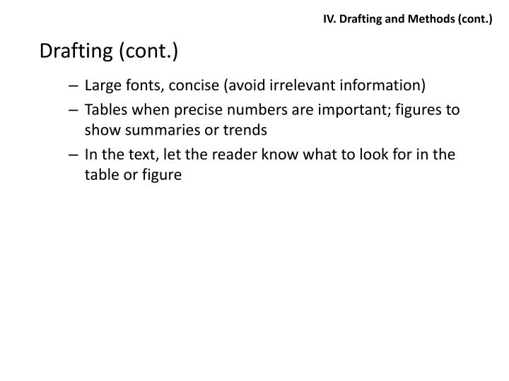 IV. Drafting and Methods (cont.)