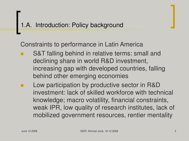 1 a introduction policy background