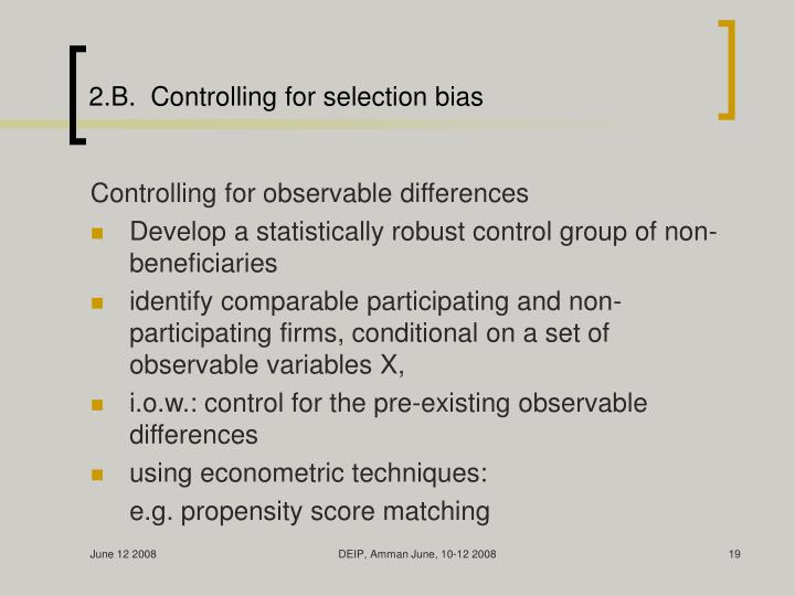 2.B.  Controlling for selection bias