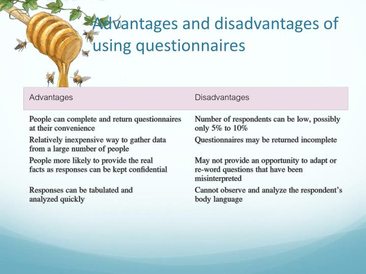 Advantages and disadvantages of using questionnaires