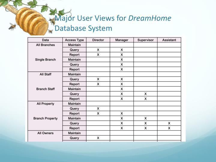 Major User Views for