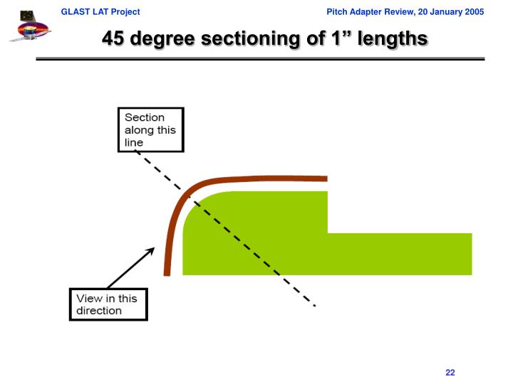 """45 degree sectioning of 1"""" lengths"""
