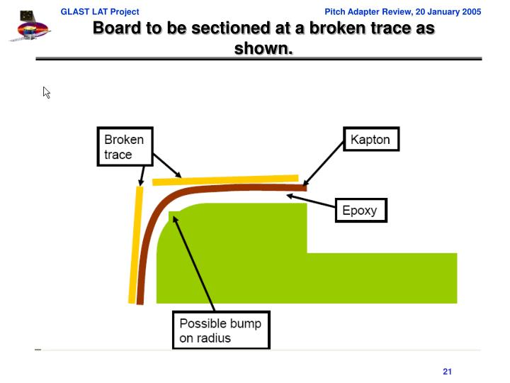 Board to be sectioned at a broken trace as shown.
