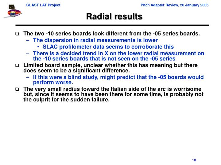 Radial results