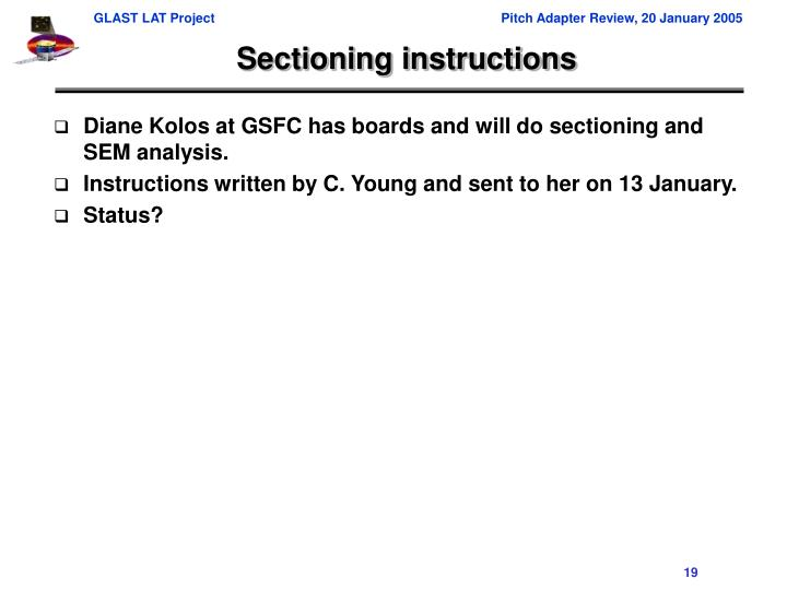 Sectioning instructions