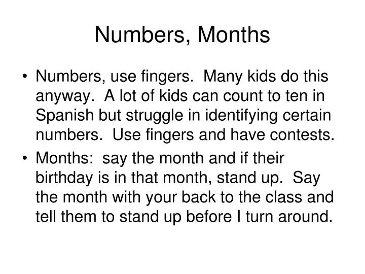 Numbers, Months