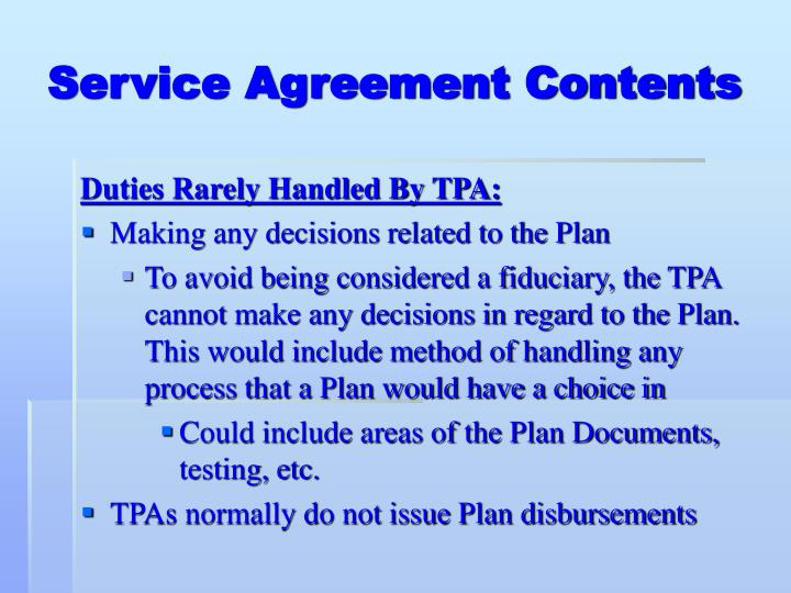 Service Agreement Contents