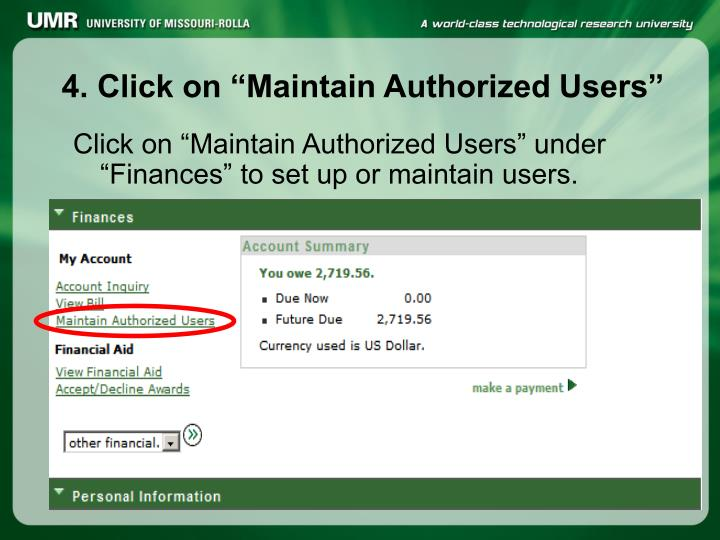"""4. Click on """"Maintain Authorized Users"""""""