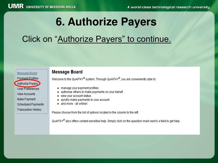 6. Authorize Payers