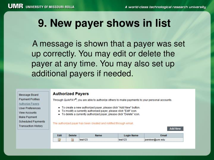 9. New payer shows in list