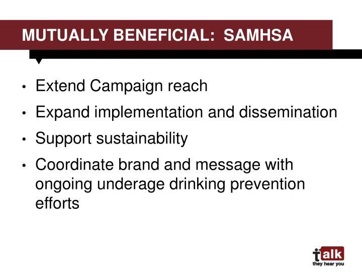 Mutually beneficial:  samhsa