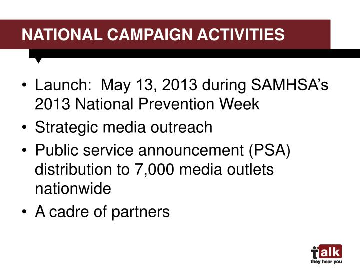 National campaign activities