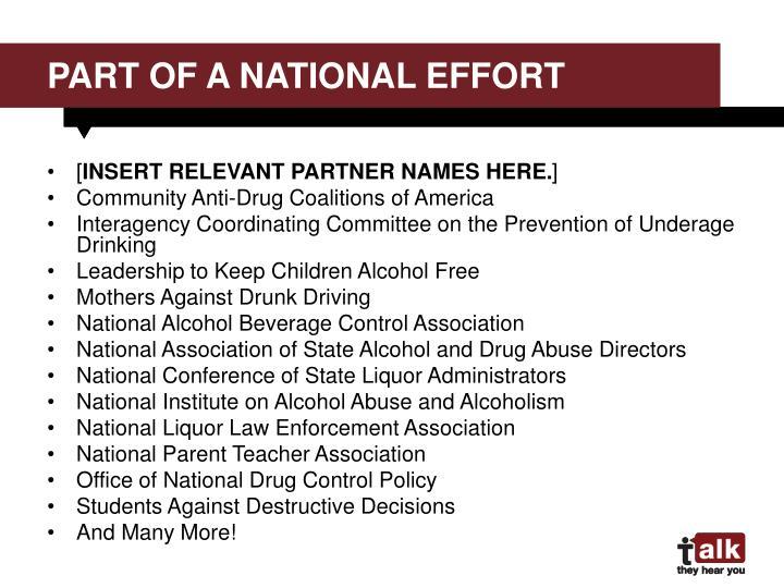 part of a National Effort