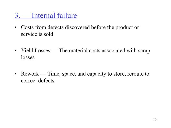 3.	Internal failure