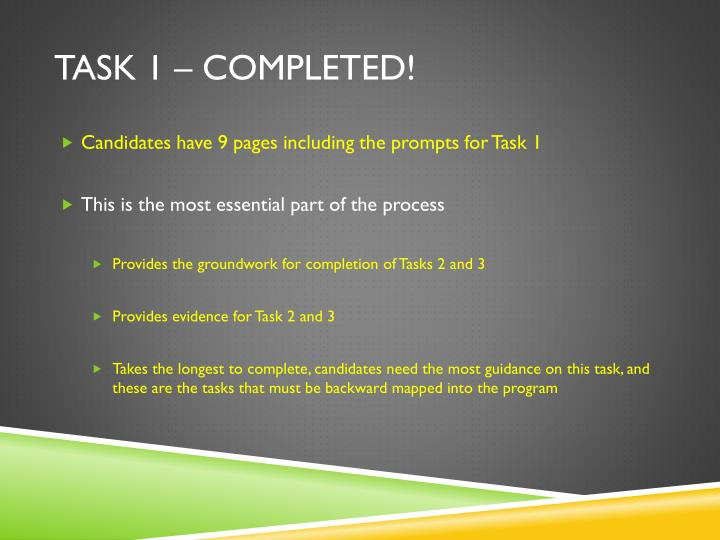 Task 1 – Completed!