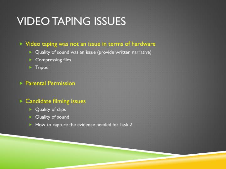 Video taping Issues