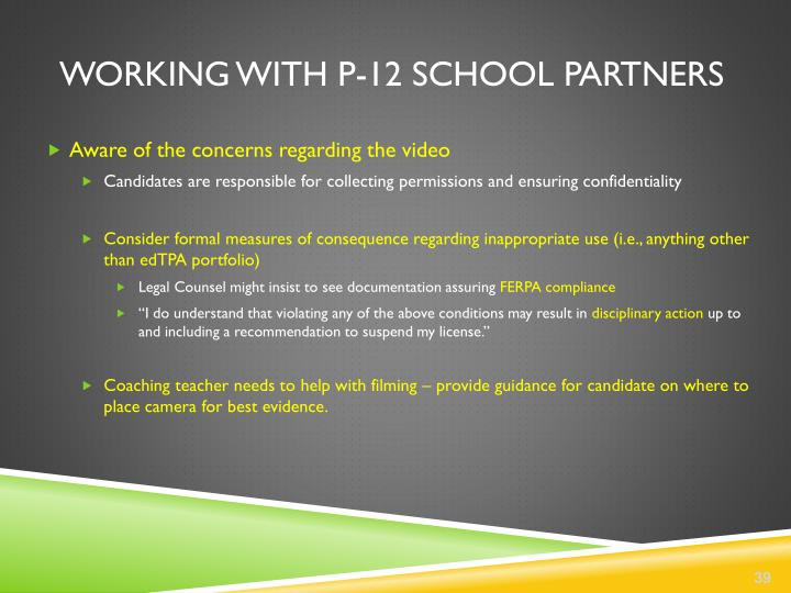 Working with P-12 school partners