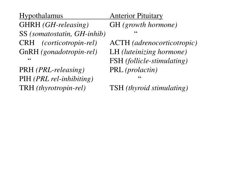 HypothalamusAnterior Pituitary