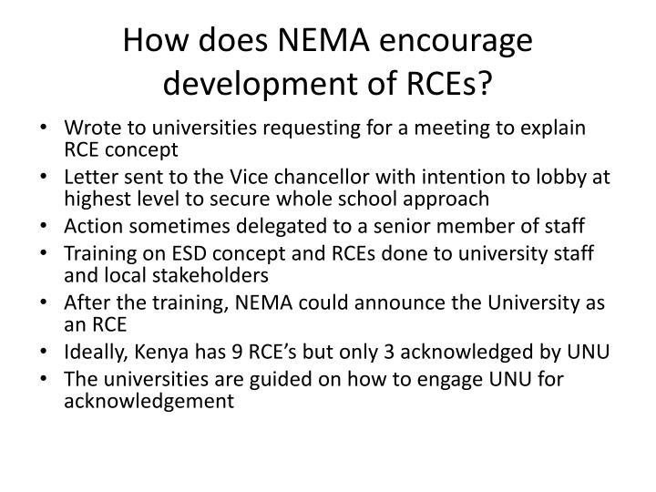 How does NEMA encourage development of