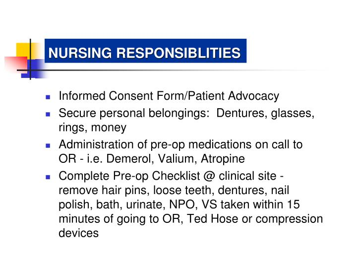 NURSING RESPONSIBLITIES