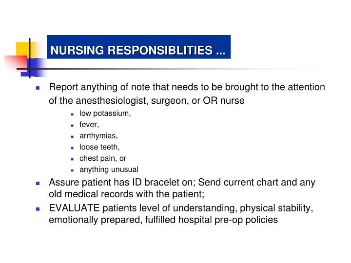 NURSING RESPONSIBLITIES ...