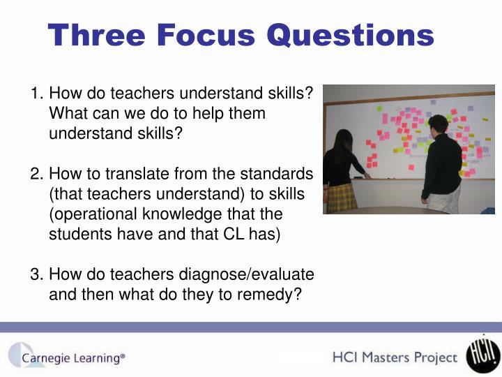 Three Focus Questions