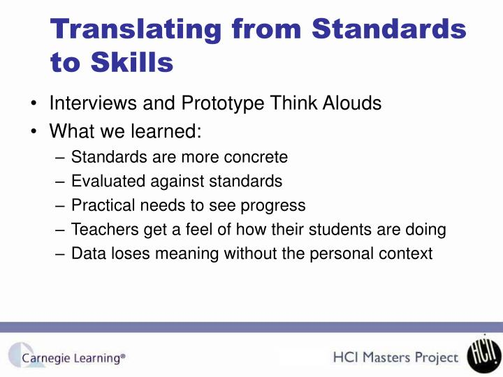 Translating from Standards to Skills