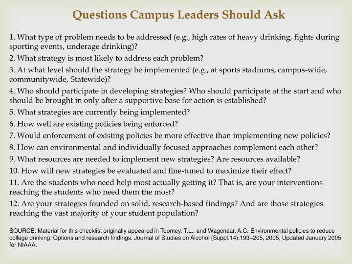 Questions Campus Leaders Should Ask