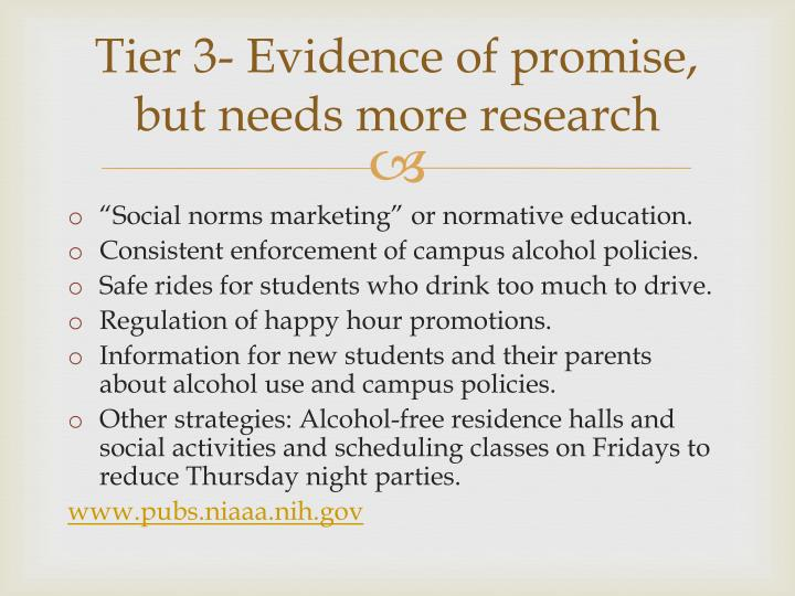 Tier 3- Evidence of promise, but needs more research
