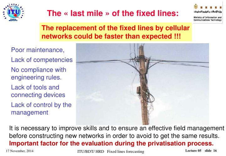 The « last mile » of the fixed lines: