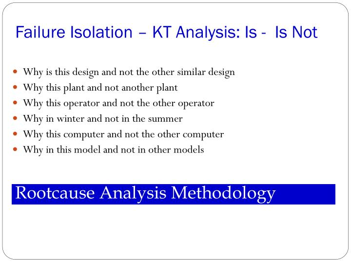 Failure Isolation – KT Analysis: Is -  Is Not