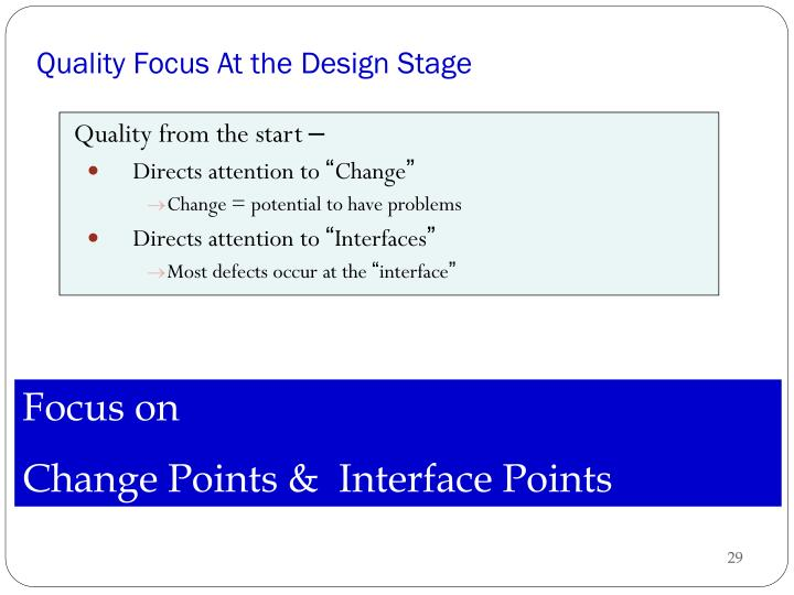 Quality Focus At the Design Stage