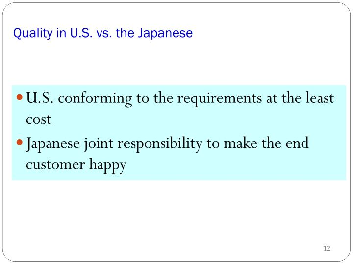 Quality in U.S. vs. the Japanese