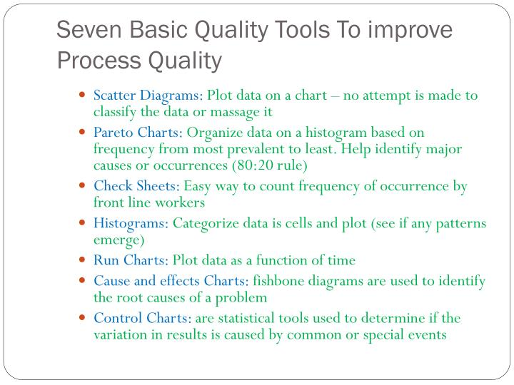 Seven Basic Quality Tools To improve Process Quality