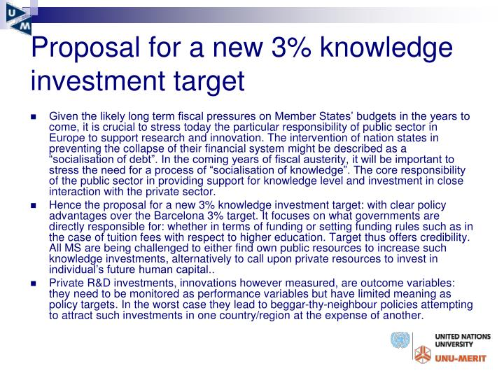 Proposal for a new 3% knowledge investment target
