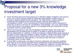 proposal for a new 3 knowledge investment target