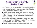 acceleration of gravity reality check